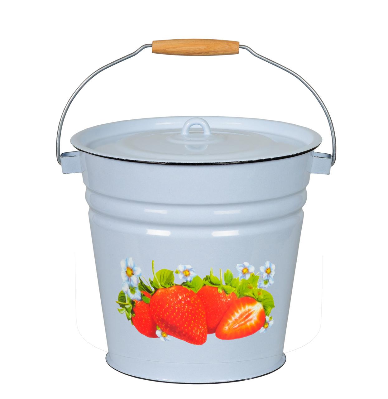 Ведро с крышкой Клубника садовая 12 литров