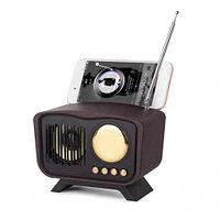 Колонка винтажная с подставкой для смартфона KIMISO Retro {bluetooth, FM-радио, MP3-плеер} (Красное дерево)