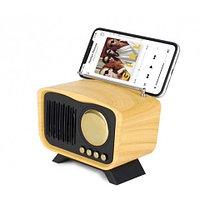 Колонка винтажная с подставкой для смартфона KIMISO Retro {bluetooth, FM-радио, MP3-плеер} (Натуральное