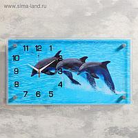 """Часы настенные, серия: Море, """"Дельфины"""", 26х52 см, микс"""