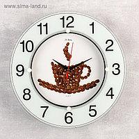 """Часы стеклянные """"Чашка из кофейных зерен"""", цифры на кольце, 32х32 см микс"""
