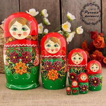 Матрёшка «Георгины», красный платок, 7 кукольная, 17 см