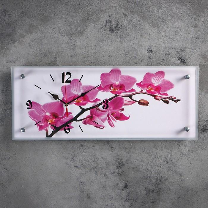 """Часы настенные, серия: Цветы, """"Орхидея"""", 20х50 см"""