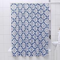 Штора для ванной комнаты Доляна «Венеция», 180×180 см, полиэстер, цвет сине-серый