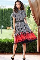 Женское летнее платье Teffi Style L-1542 черно-белый 46р.