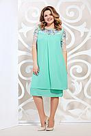Женское осеннее шифоновое зеленое нарядное большого размера платье Mira Fashion 4828-3 мята 50р.