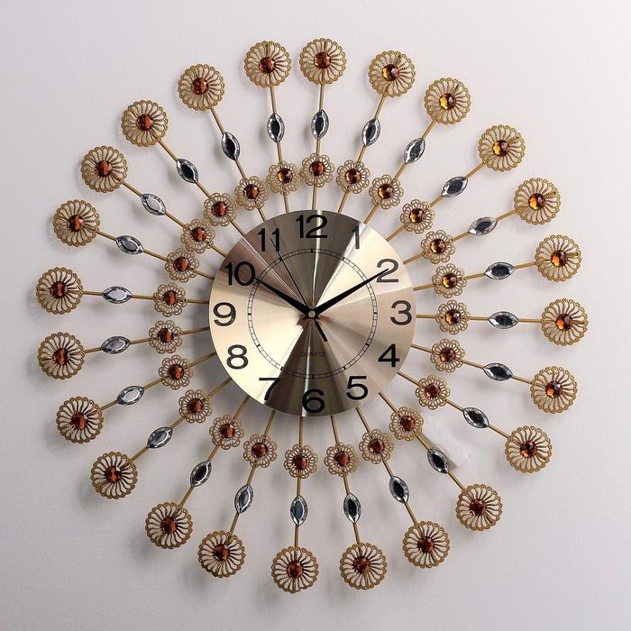 """Часы настенные, серия: Интерьер, """"Песочные ромашки"""", янтарные кристаллы, d=58 см"""