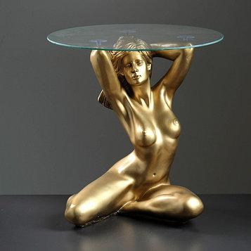 """Подставка - стол """"Пробуждение"""" бронза ПОЛИСТОУН, 39×39,5×52 см"""
