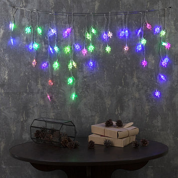 """Гирлянда """"Бахрома"""" 1.8 х 0.5 м с насадками """"Звёзды"""", IP20, прозрачная нить, 48 LED, свечение RG/RB, мигание,"""