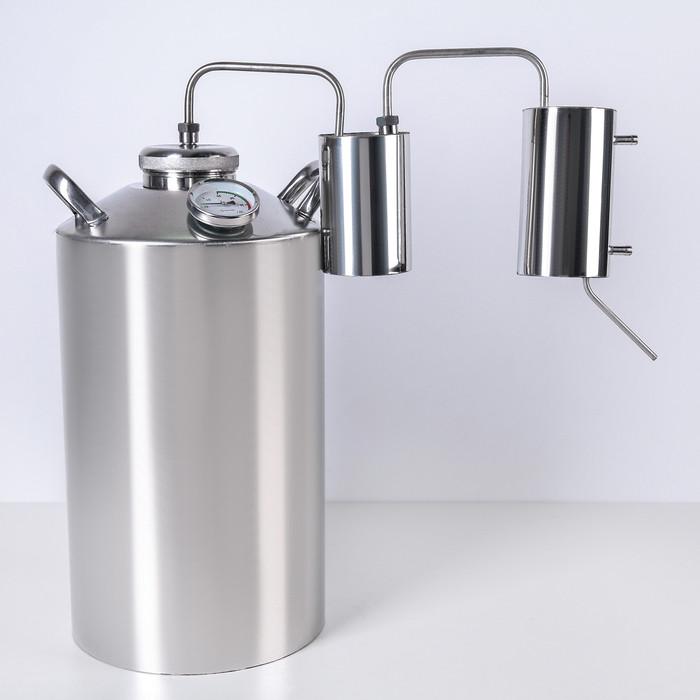 Дистиллятор разборный, 20 л, горло 80 мм, с термометром, клапан