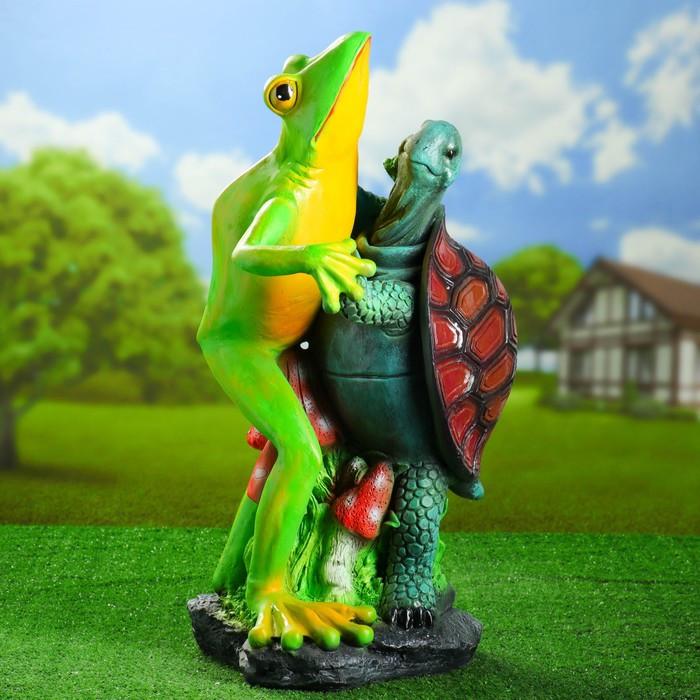 """Садовая фигура """"Танцующая лягушка с черепахой"""" 67см"""