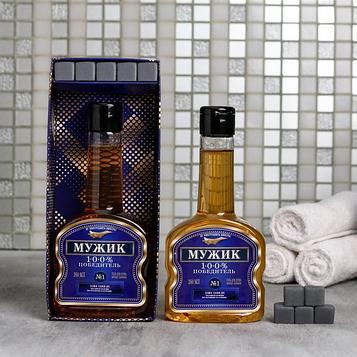 "Набор ""Мужик"" гель для душа коньяк 260 мл аромат мужского парфюма, мыло-камни"