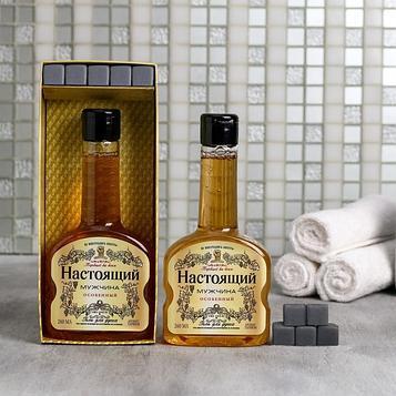 "Набор ""Настоящий мужчина"" гель для душа коньяк 260 мл аромат мужского парфюма, мыло-камни"