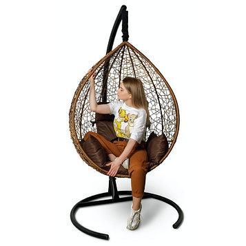 Подвесное кресло SEVILLA горячий шоколад + коричневая подушка