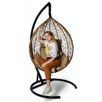 Подвесное кресло SEVILLA горячий шоколад + бежевая подушка