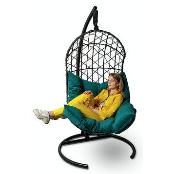 Подвесное кресло Barselona черное + зеленая подушка