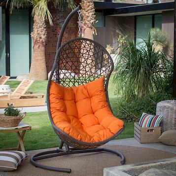 Подвесное кресло Barselona черное + оранжевая подушка
