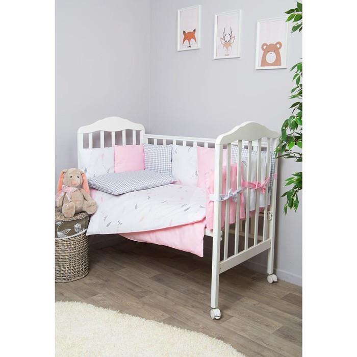 Комплект в кроватку «Стрекоза - Егоза», 6 предметов, розовый