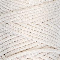 Шнур для вязания без сердечника 100 хлопок, ширина 3мм 100м/200гр (2264 ванильный)