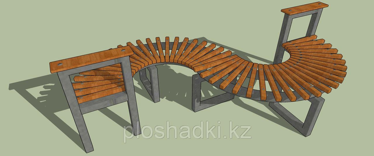 Скамейка деревянная, радиусная