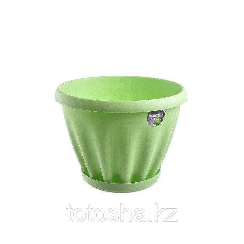 Горшок для цветов 1 л Знатный Мп301З , зеленый, поддон