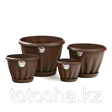 Горшок для цветов 2 л Знатный Мп302Ш , шоколад, поддон