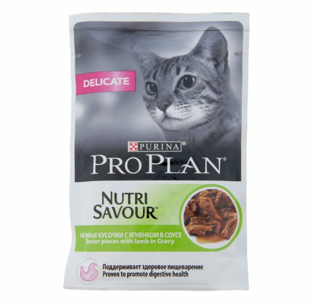 Влажный корм для кошек ПроПлан Деликат, Ягнёнок в соусе