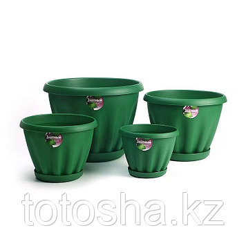 Горшок для цветов 2 л Знатный Мп302ТЗ, темно-зеленый, поддон