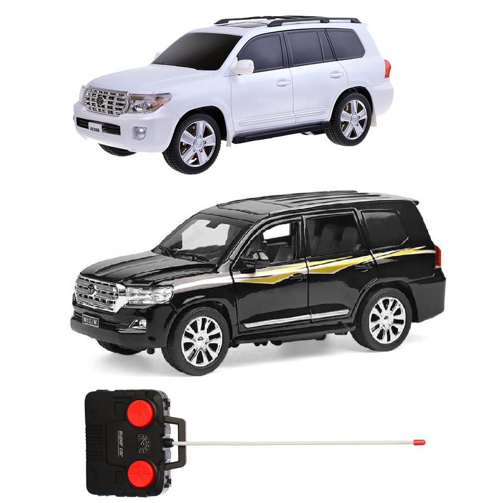 Радиоуправляемая машина Toyota Land Cruiser Prado 200 с аккумулятором (черный/белый)
