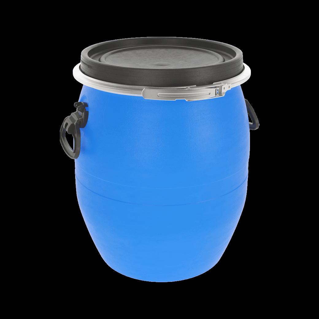 Бочка пластиковая 48 литров с крышкой и хомутом