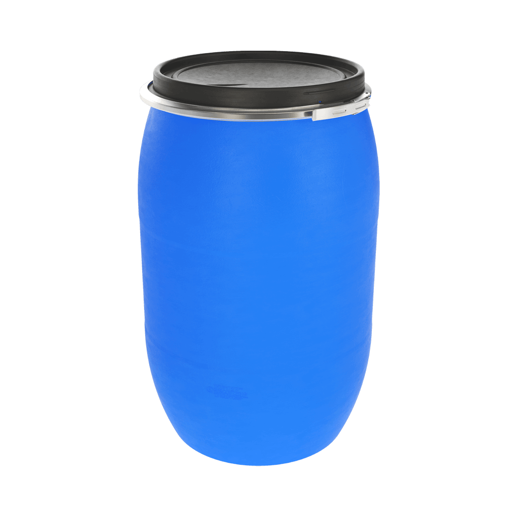 Бочка пластиковая 127 литров с крышкой и хомутом