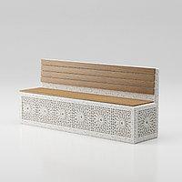 """Скамья """"Onda bench C5"""" со спинкой с гравировкой из мраморного композитного камня с деревян настилом"""