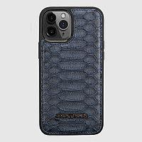 Чехол для телефона iPhone 12 Pro Max питон тёмно-синий