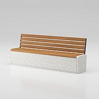 """Скамья """"Onda bench C3"""" со спинкой из мраморного композитного камня с деревянным настилом"""