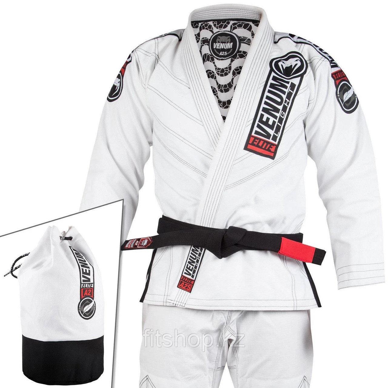 Кимоно для джиу-джитсу Venum Elite Light  белое ,чёрное сумка в комплекте