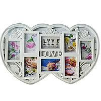 """Настенная фоторамка с надписью """"Love"""" на 8 фотографий Сердца белая"""