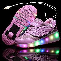 Роликовые кроссовки с USB зарядкой розовый цвет