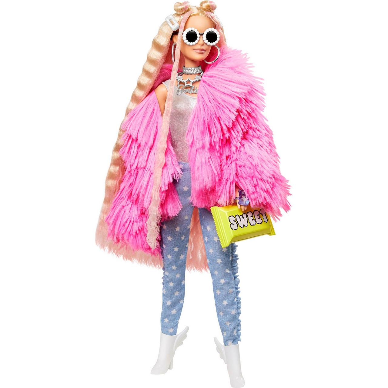 Barbie Экстра Модная Кукла в розовой куртке №3, Барби