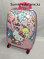 Детский чемодан для девочек на колесах, на 5-7 лет. Высота 46 см, ширина 30 см, глубина 22 см., фото 1