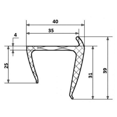 Профиль уплотнительный, 35 мм, L=2.55 м, резиновый, для будки типа ГАЗель