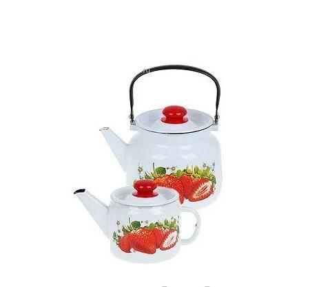 """Набор эмалированных чайников """"Сочная клубника"""""""