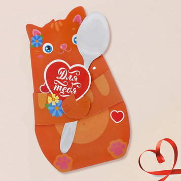 Ложечка сувенирная в фигурной открытке «Для тебя. Котёнок»