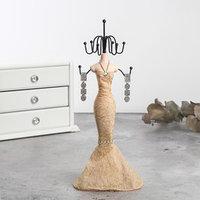 Подставка для украшений 'Силуэт девушки в платье', h28 см, цвет золотой
