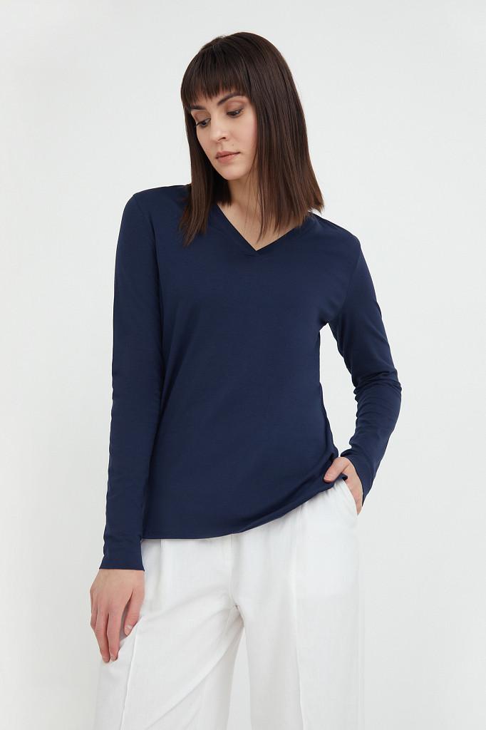 Лонгслив женский Finn Flare, цвет темно-синий, размер 2XL - фото 1
