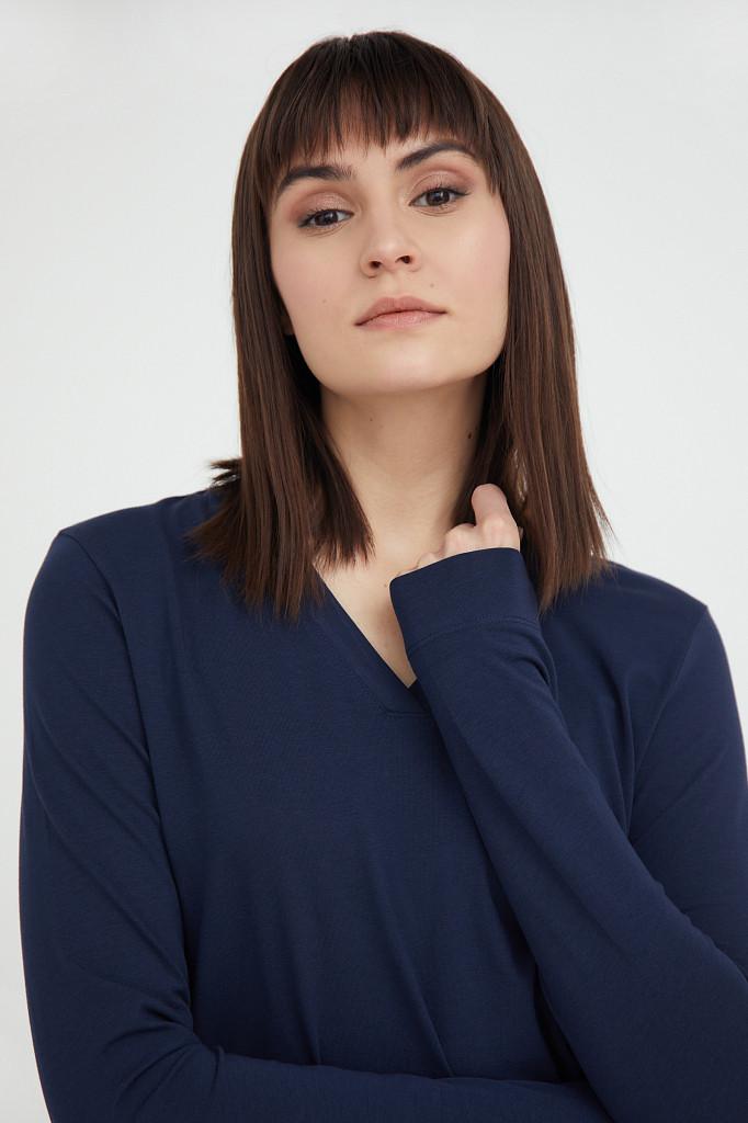 Лонгслив женский Finn Flare, цвет темно-синий, размер 2XL - фото 6