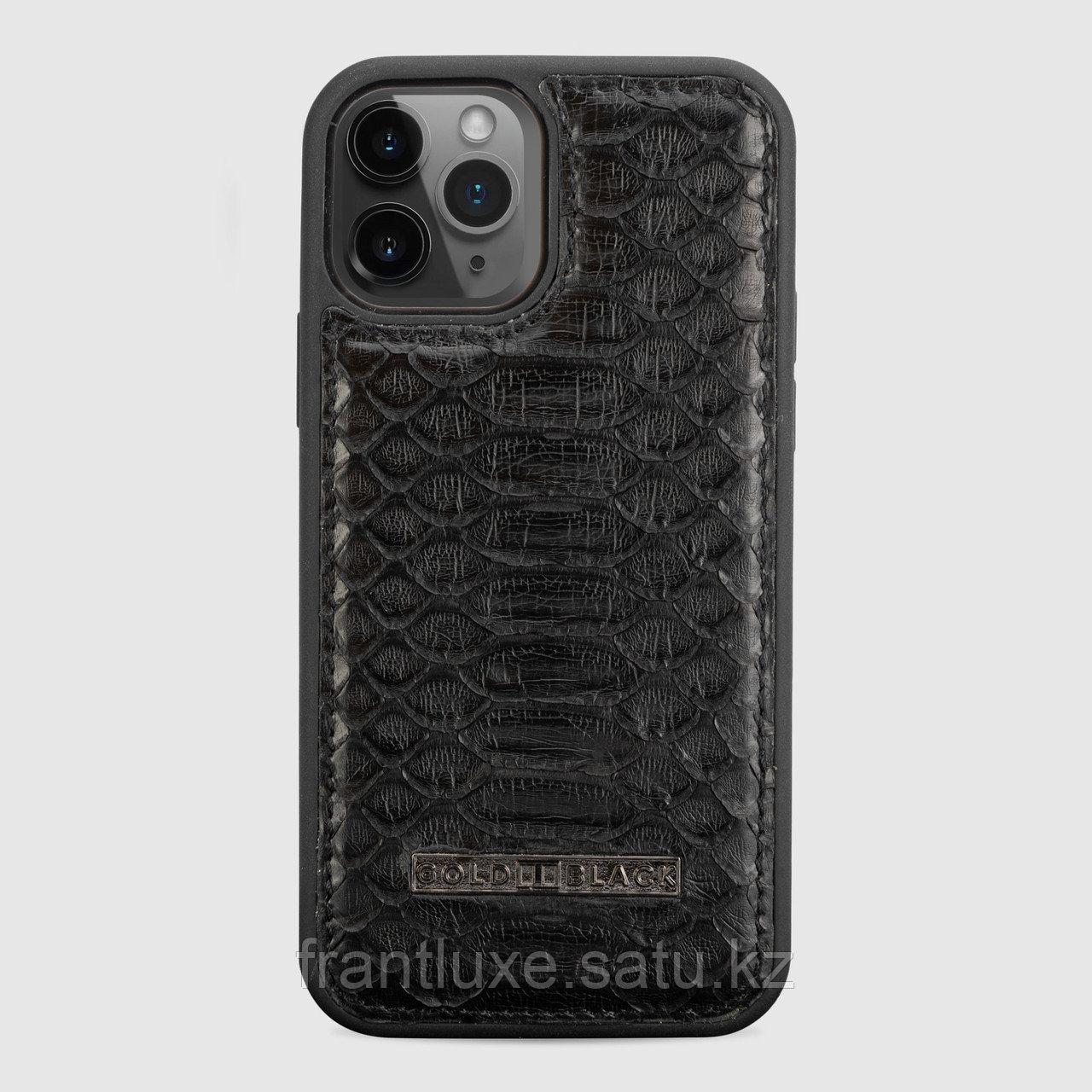 Чехол для телефона iPhone 12/12 Pro питон чёрный - фото 1