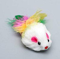 Игрушка для кошек Малая мышь с перьями