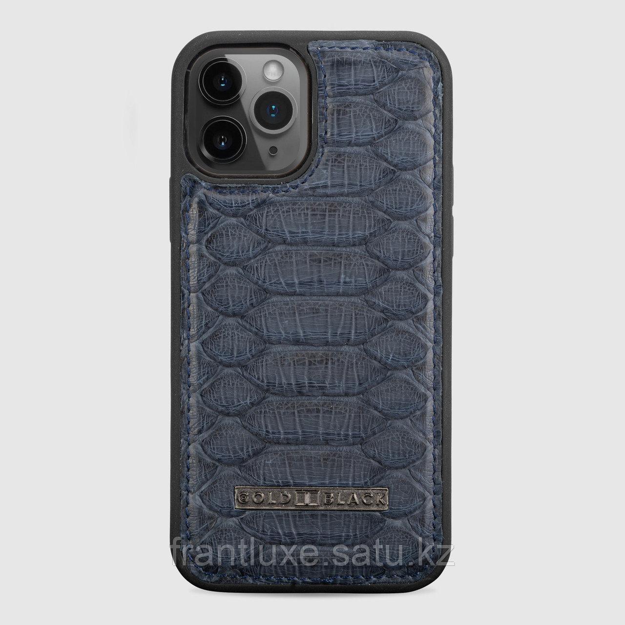 Чехол для телефона iPhone 12/12 Pro питон тёмно-синий - фото 1