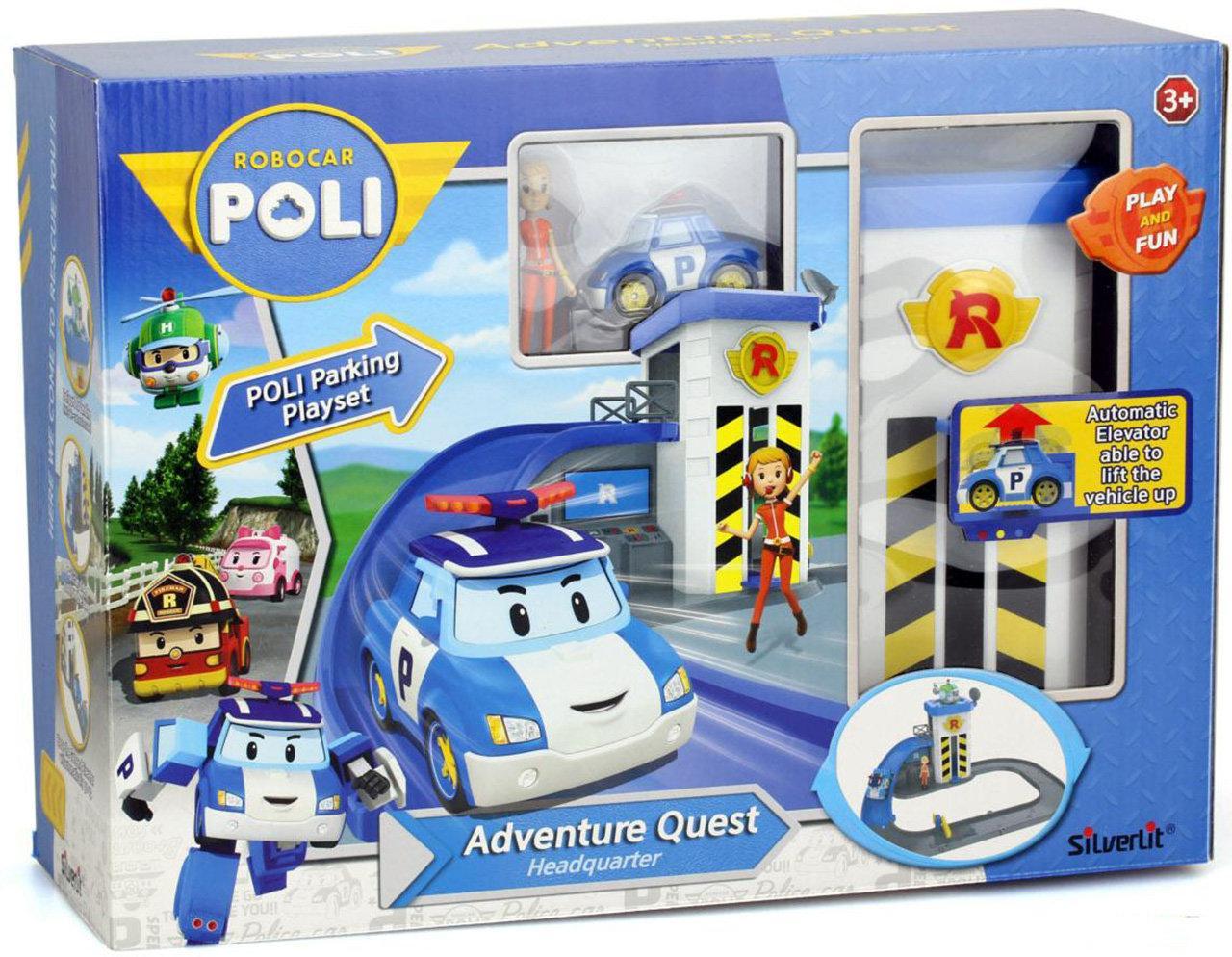 Robocar Poli Подъемник с металлической машинкой Поли Робокар и фигуркой Джин