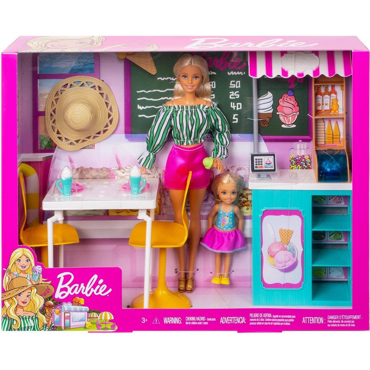 Barbie Игровой набор Магазин Кафе-мороженое с куклами Барби и Челси